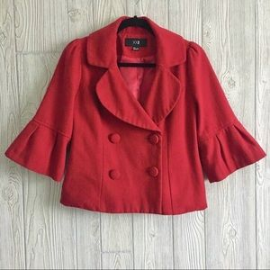 Forever 21 Small Cropped Red Blazer Wool B…